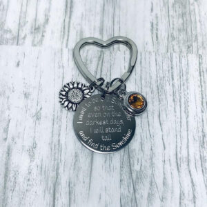 Inspirational Sunflower Keychain with Swarovski Crystal $18.00